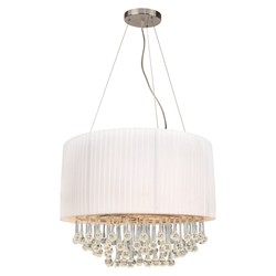 "Picture of 24"" Manhattan Modern Crystal Round Pendant Chandelier Polished Chrome with Black / White Side Pleated Shade 5 Lights"