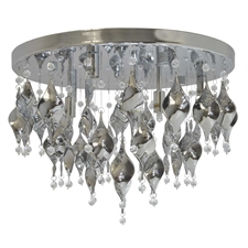 "Picture of 18"" Tiara Modern Chrome Coated Glass Flush Mount Ceiling Lamp Chrome Finish 6 Lights"