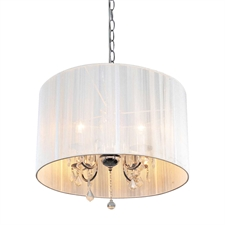 """Picture of 22"""" Balmoral Contemporary Crystal Round Pendant Chrome Finish with White String Shade 4 Lights"""