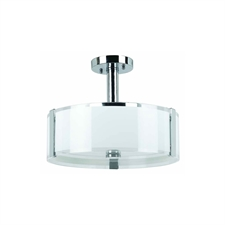 "Picture of 14"" Athena Modern White Opal and Clear Glass Round Semi-Flush Mount Chrome Finish 3 Lights"