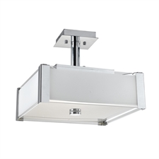 "Picture of 15"" Athena Modern White Opal and Clear Glass Square Semi-Flush Mount Chrome Finish 3 Lights"