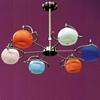 "Picture of 28"" Vibrante Modern Round Kids Chandelier Brushed Nickel White / Orange / Pink / Blue Glass 6 Lights"