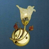 "Picture of 11"" Flower Transitional Clear / White Fused Glass Wall Sconce Chrome / Gold Finish 1 Light"