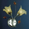 """Picture of 11"""" Flower Transitional Clear / White Fused Glass Amber Crystal Wall Sconce Chrome / Gold Finish 2 Lights"""