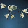 "Picture of 24"" Flower Transitional Clear / White Fused Glass Flush Mount Ceiling Light Chrome / Gold Finish 6 Lights"