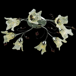 "Picture of 27"" Flower Transitional Clear / White Fused Glass Flush Mount Ceiling Light Chrome / Gold Finish 8 Lights"