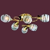 """Picture of 24"""" Due Linee Transitional Round Frosted Glass Flush Mount Ceiling Lamp with Clear / Amber Crystals Chrome / Gold Finish 6 Lights"""