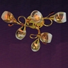 """Picture of 24"""" Quattro Linee Transitional Round Frosted Glass Flush Mount Ceiling Lamp with Clear / Amber Crystals Chrome / Gold Finish 6 Lights"""
