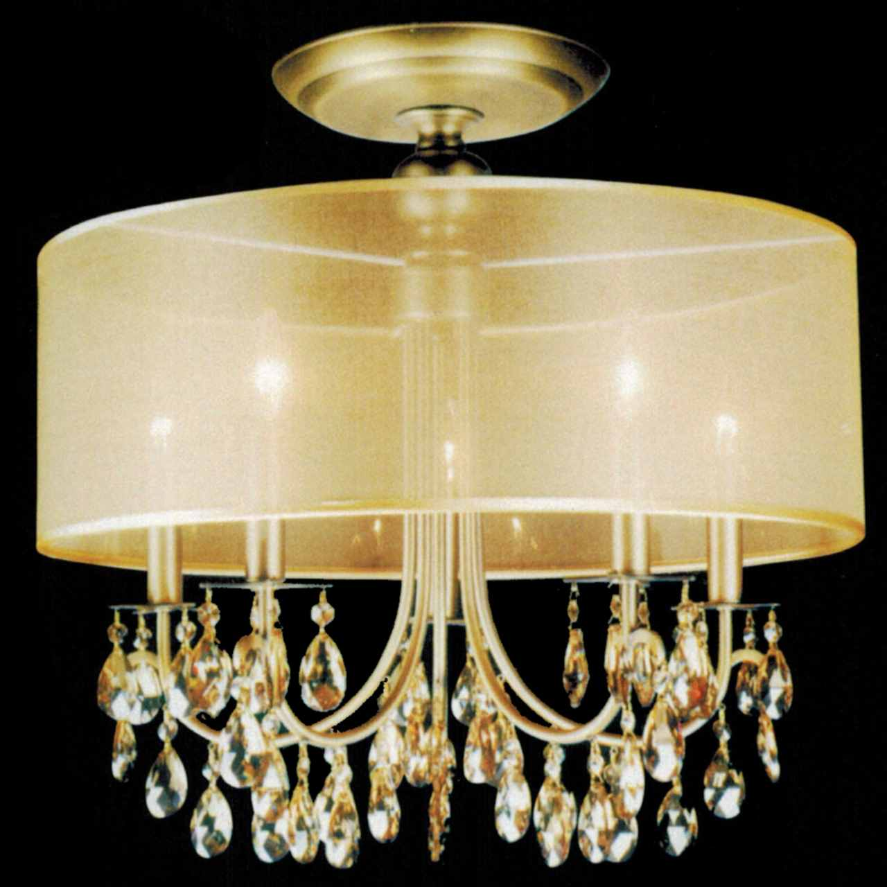 Brizzo lighting stores 22quot organza contemporary round for Crystal ceiling lights flush mount
