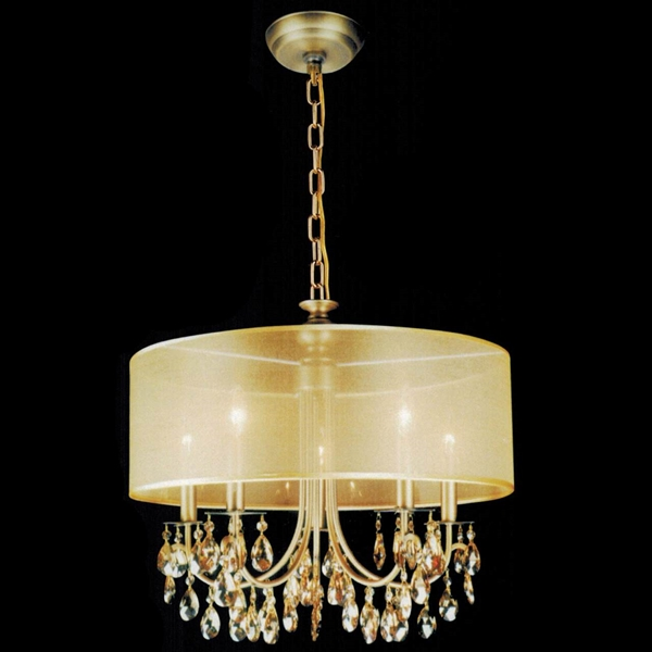 "Picture of 22"" Organza Contemporary Round Crystal Pendant Chandelier Antique Brass Finish Champagne Shade and Crystals 5 Lights"