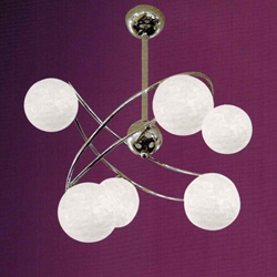 "Picture of 22"" Ciclo Modern Kids / Office Flush Mount Ceiling Lamp Chrome Finish White Opal Glass 6 Lights"