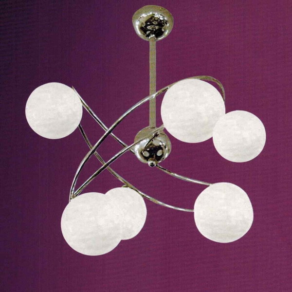 """Picture of 22"""" Ciclo Modern Kids / Office Flush Mount Ceiling Lamp Chrome Finish White Opal Glass 6 Lights"""