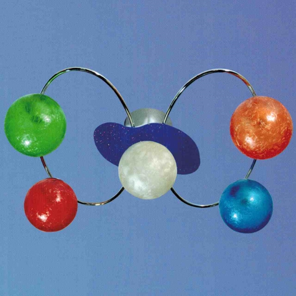 """Picture of 23"""" Ciclo Modern Kids / Office Glass Flush Mount Ceiling Lamp Chrome Finish White / Red / Blue / Green / Orange Color 5 Lights"""