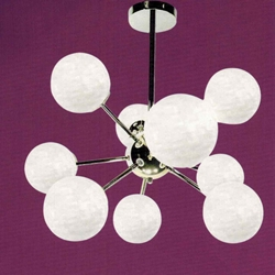 "Picture of 24"" Ciclo Modern Round Kids / Office Pendant Chrome Finish White Opal Glass 9 Lights"