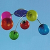 """Picture of 28"""" Ciclo Modern Kids / Office Glass Flush Mount Ceiling Lamp Chrome and Blue Frame White / Red / Green / Blue / Orange / Pink Color 6 Lights"""