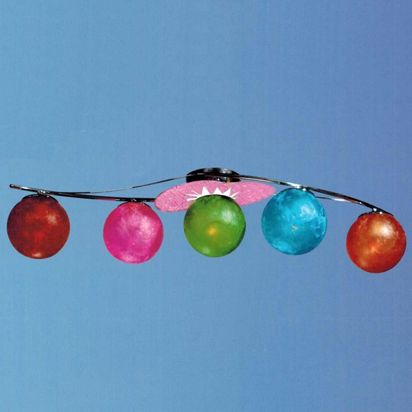 """Picture of 35"""" Ciclo Modern Kids / Office Glass Flush Mount Ceiling Lamp Chrome and Pink Frame White / Red / Green / Blue / Orange Color 5 Lights"""