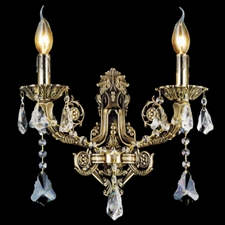 "Picture of 14"" Ottone Traditional Crystal Candle Wall Sconce Antique Brass Finish 2 Light"
