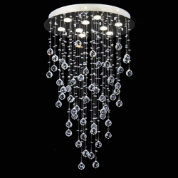 "Picture of 36"" Raindrops Modern Foyer Crystal Round Chandelier Mirror Stainless Steel Base 9 Lights"