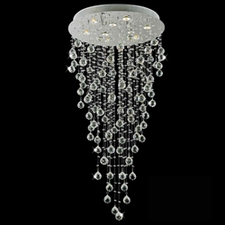 "Picture of 47"" Raindrops Modern Foyer Crystal Round Chandelier Mirror Stainless Steel Base 9 Lights"