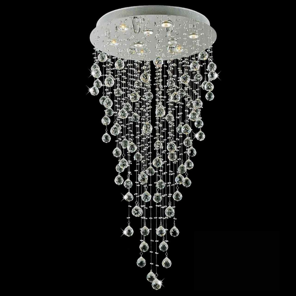 """Picture of 47"""" Raindrops Modern Foyer Crystal Round Chandelier Mirror Stainless Steel Base 9 Lights"""