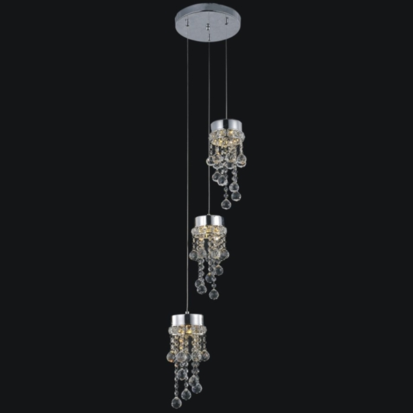 "Picture of 12"" Escalera Modern Crystal Mini Pendants on Round Platform Polished Chrome 3 Lights"