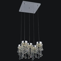 "Picture of 14"" Escalera Modern Crystal Mini Pendants on Square Platform Polished Chrome 5 Lights"