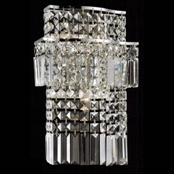 "Picture of 13"" Bossolo Transitional Crystal Rectangular Square Wall Sconce Polished Chrome 4-Lights"