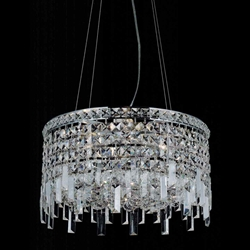 "Picture of 14"" Bossolo Transitional Crystal Round Pendant Chandelier Polished Chrome 4 Lights"