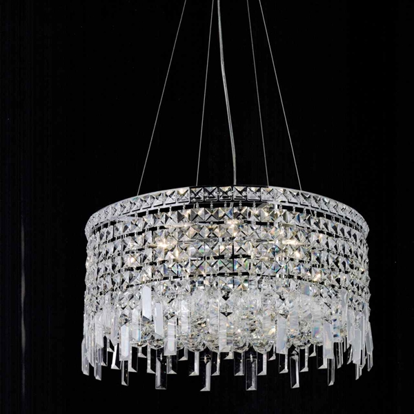 "Picture of 16"" Bossolo Transitional Crystal Round Pendant Chandelier Polished Chrome 5 Lights"