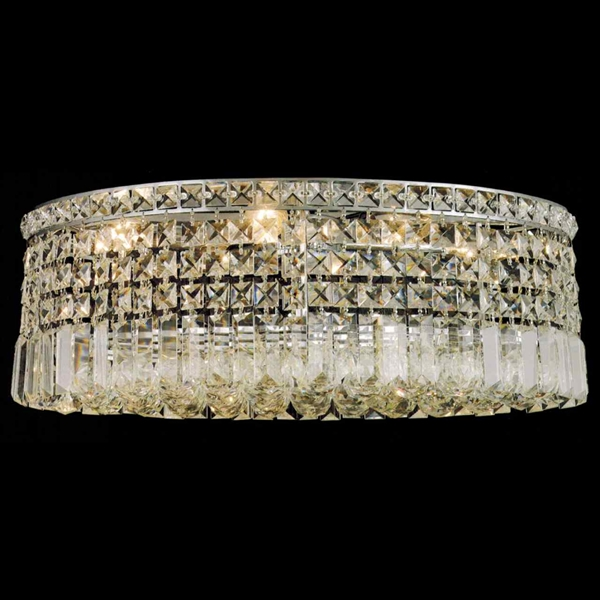 """Picture of 21"""" Bossolo Transitional Crystal Oval Flush Mount Chandelier Polished Chrome 6 Lights"""