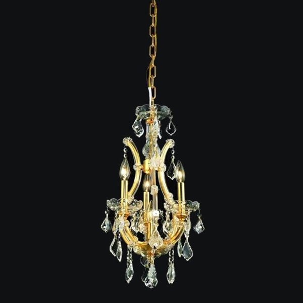 """Picture of 12"""" Maria Theresa Traditional Crystal Round Chandelier Gold Plated 4 Lights"""