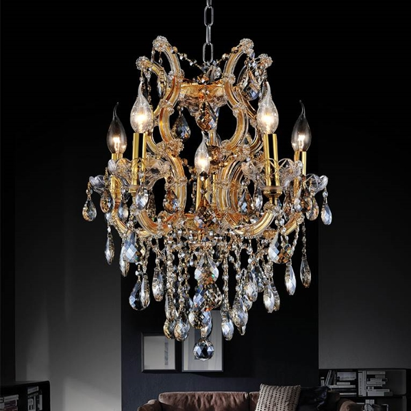 """Picture of 22"""" Maria Theresa Traditional Crystal Round Chandelier Gold Plated 6 Lights"""