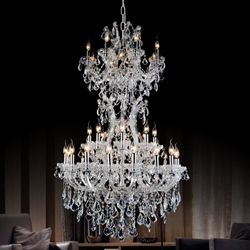 "Picture of 36"" Maria Theresa Traditional Crystal Round 3-Tier Chandelier Polished Chrome / Gold Plated 34 Lights"