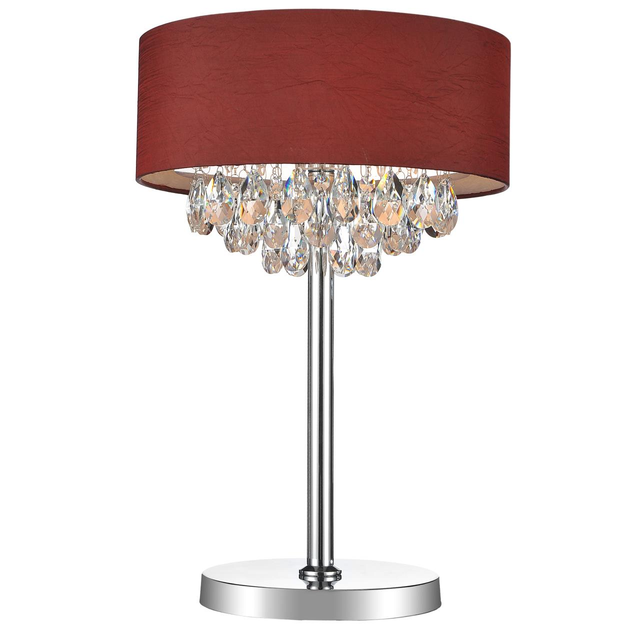 Red table lamp shade - 14 Struttura Modern Crystal Round Table Lamp Double Shade Wine Red Fabric 3 Lights