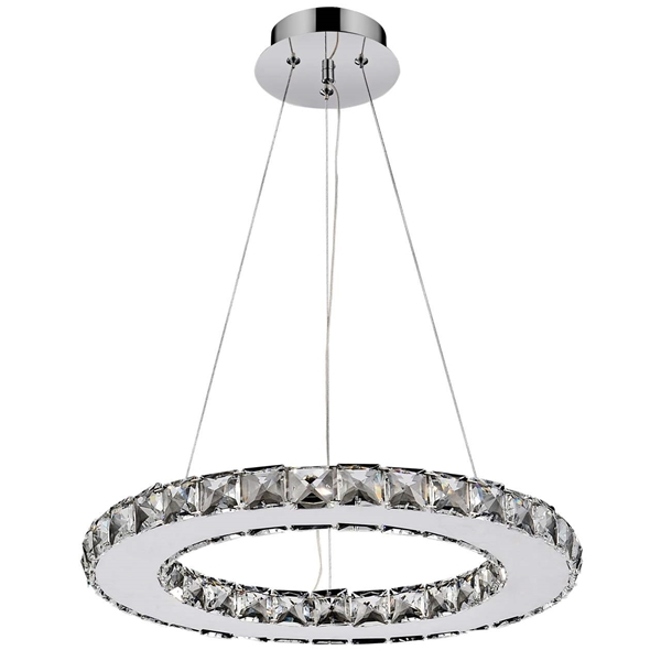 """Picture of 16"""" Anelli Modern Crystal Round Pendant Polished Chrome 15 LED Lights"""