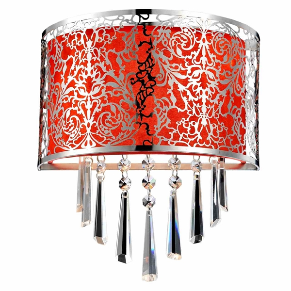 """Picture of 12"""" Drago Modern Crystal Round Laser Cut Stainless Steel Shade Red Fabric Wall Sconce 2 Lights"""