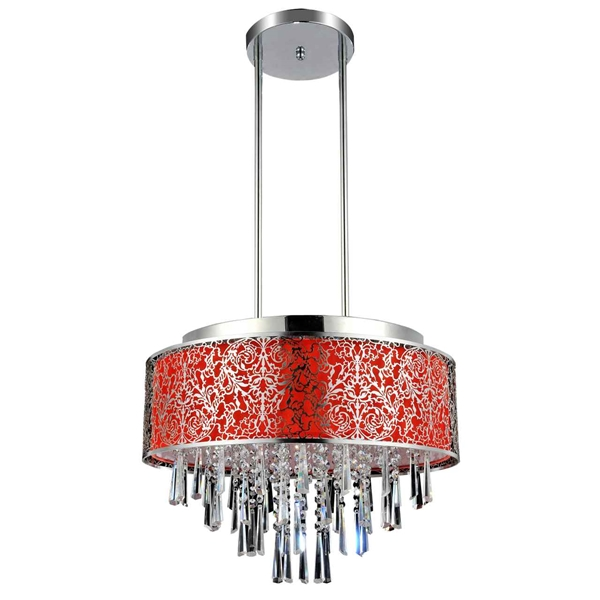 """Picture of 20"""" Drago Modern Crystal Round Pendant Chandelier Red Fabric Stainless Steel Shade 9 Lights"""