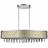"""Picture of 38"""" Drago Modern Crystal Oval Laser Cut Stainless Steel Shade Off White Fabric Pendant Chandelier 7 Lights"""
