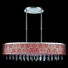 """Picture of 38"""" Drago Modern Crystal Oval Linear Pendant Chandelier Red Fabric Stainless Steel Shade 7 Lights"""