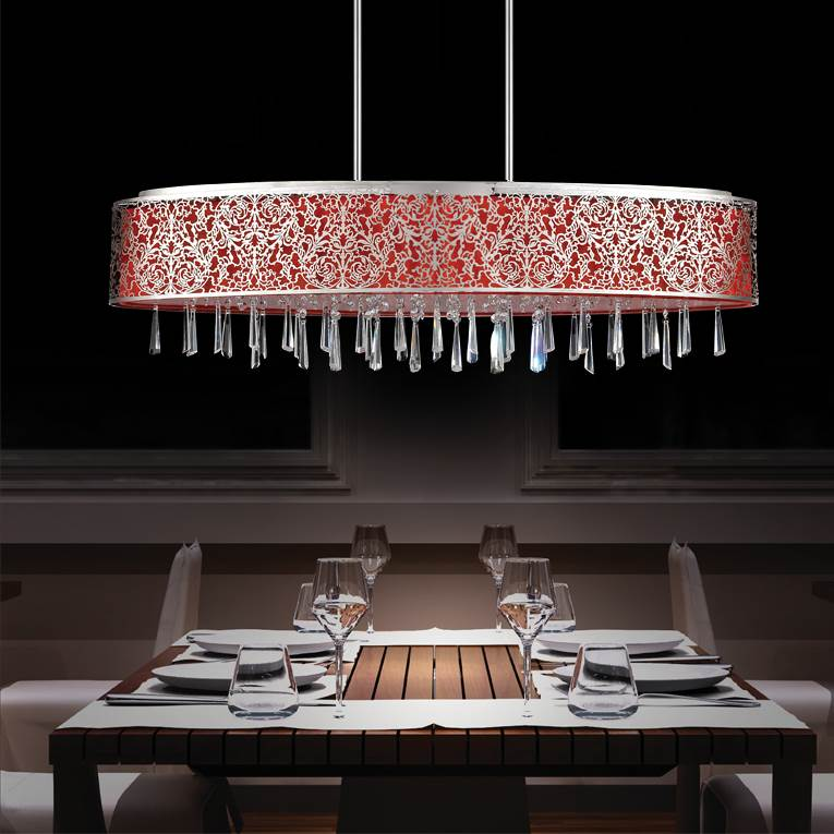Picture Of 38 Drago Modern Crystal Oval Linear Pendant Chandelier Red Fabric Stainless Steel Shade
