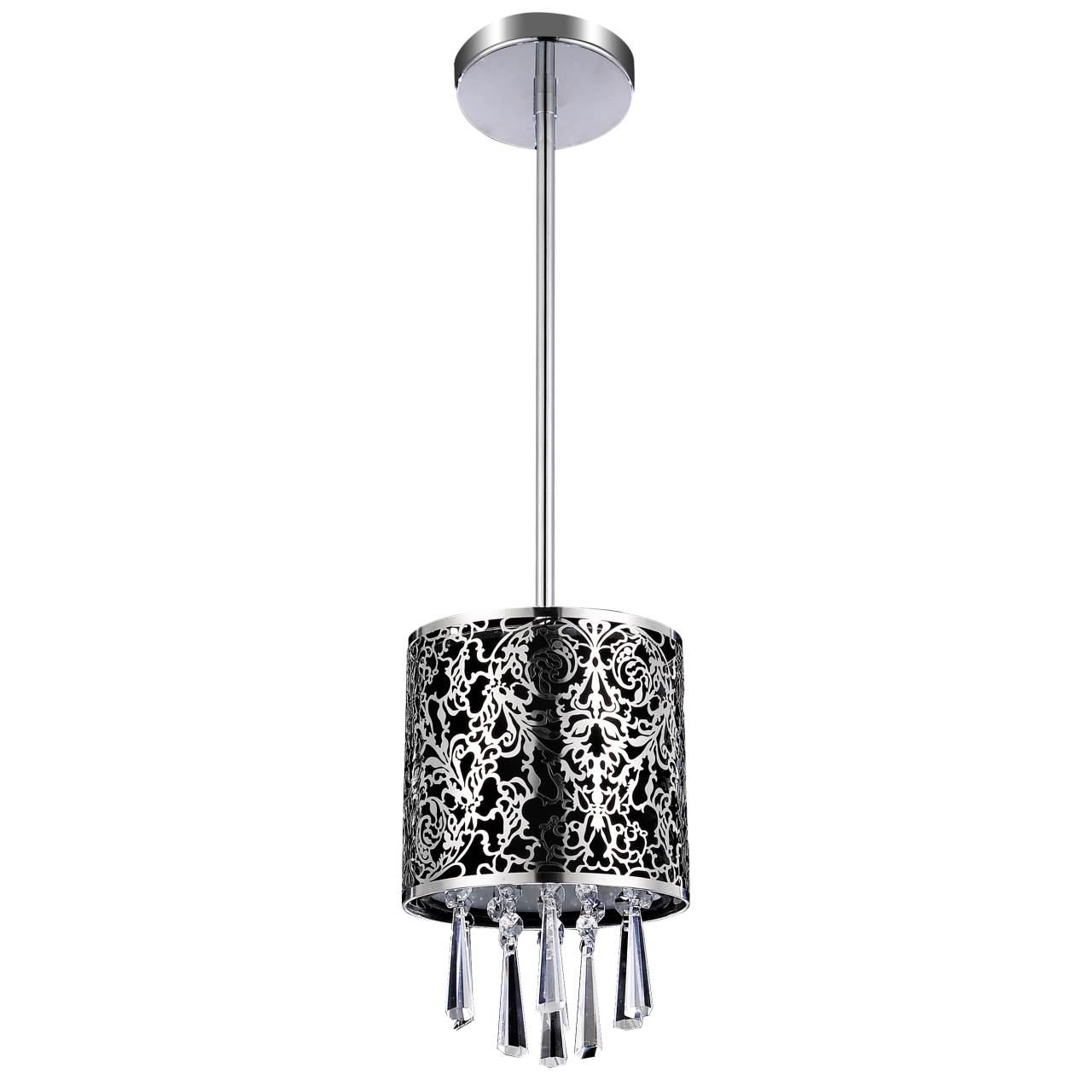 picture of 6 drago modern crystal round mini pendant black fabric stainless steel shade 1 black fabric lighting