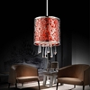 """Picture of 6"""" Drago Modern Crystal Round Mini Pendant Red Fabric Stainless Steel Shade 1 Light"""