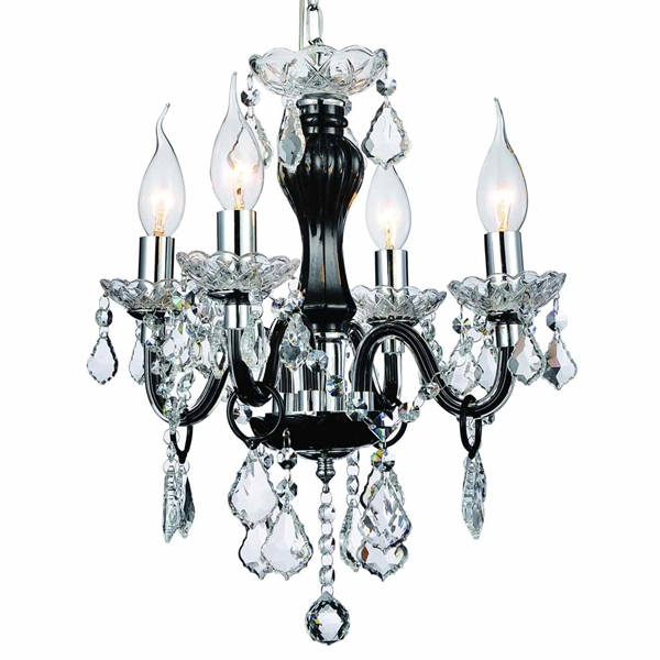 "Picture of 14"" Victorian Traditional Crystal Round Mini Chandelier Jet Black Frame Clear Plates and Crystals 4 Lights"