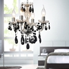 """Picture of 14"""" Victorian Traditional Crystal Round Mini Chandelier Polished Chrome Black Crystals 4 Lights"""