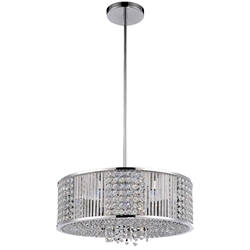 "Picture of 16"" Cristallo Modern Crystal Round Pendant Chandelier Polished Chrome 6 Lights"