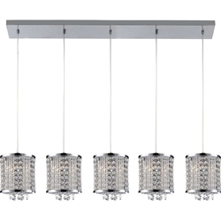 "Picture of 48"" Cristallo Modern Crystal Linear Mini-Pendants on Rectangular Platform Polished Chrome 5 Lights"