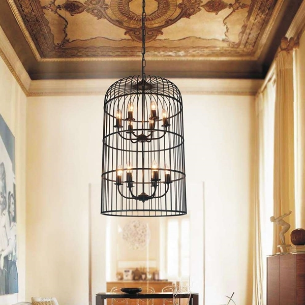 """Picture of 29"""" Bird Cage Contemporary Two Tier Black Iron Round Chandelier 8 Lights"""