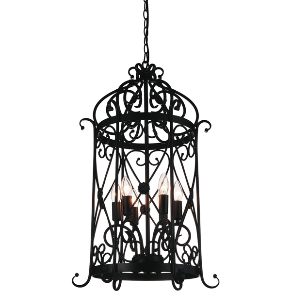 """Picture of 30"""" Bird Cage Contemporary Black Iron Large Oversized Pendant 6 Lights"""