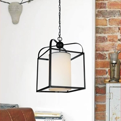 "Picture of 17"" Lantern Contemporary Rubbed Brown Iron Overiszed Square Pendant 1 Light"