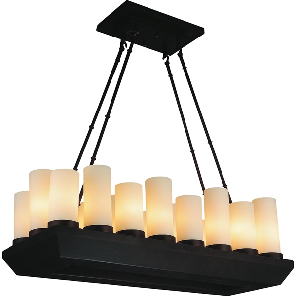 """Picture of 33"""" Lantern Contemporary Rubbed Brown Iron Rectangular Chandelier 18 Lights"""